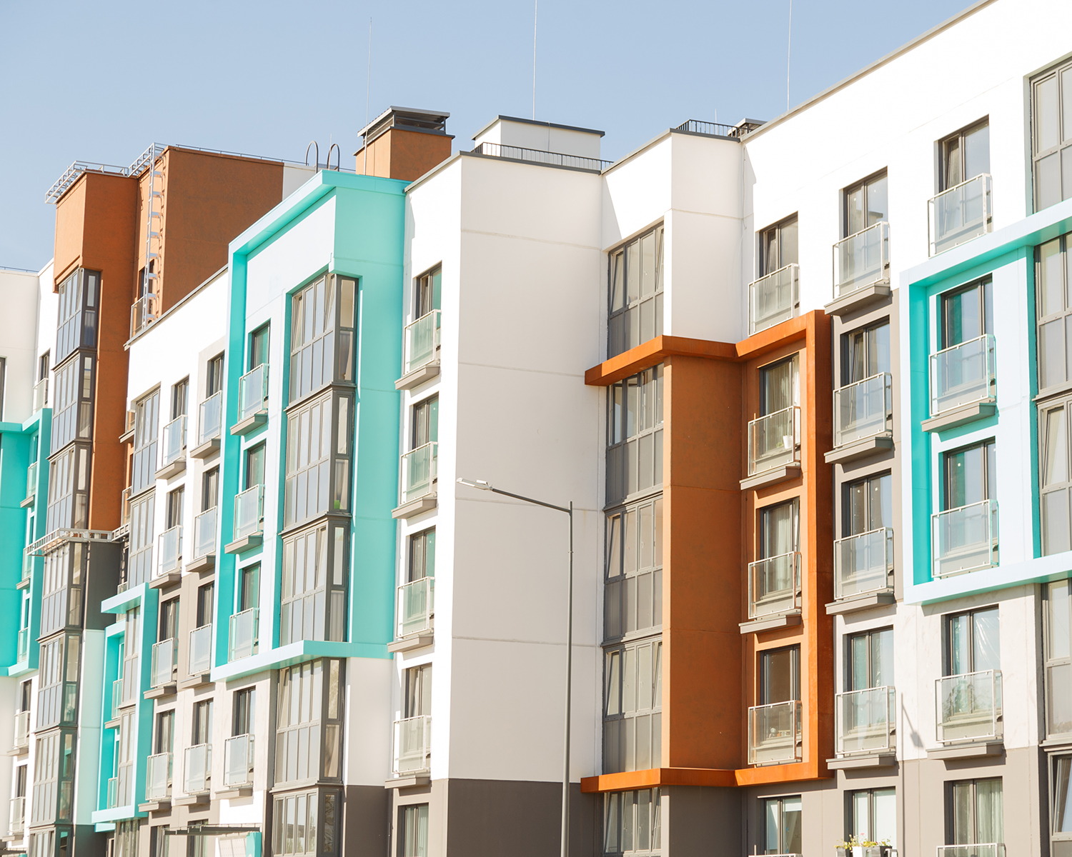 Modern residential buildings with outdoor facilities, Facade of new low-energy houses,